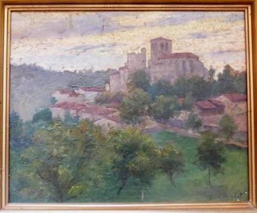 Léon, abbé BOUDAL - Pintura - village en Auvergne