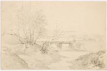 "Franz II STEINFELD - Dibujo Acuarela - ""Landscape with wooden bridge"", drawing, ca. 1850"