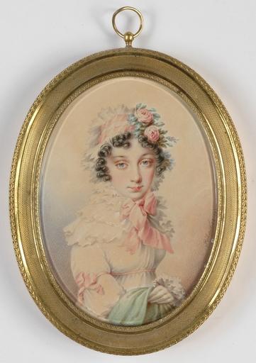 """Leopold PÖHACKER - Disegno Acquarello - """"Portrait of a Lady"""" , 1810s"""