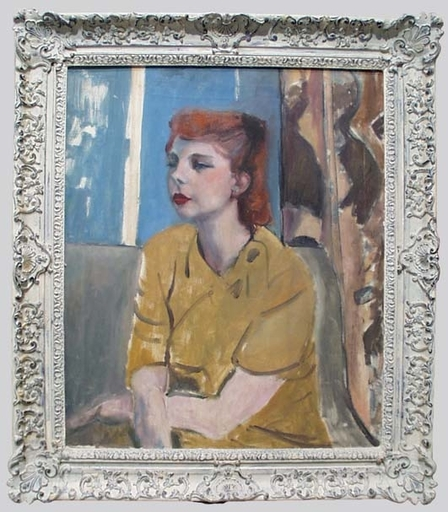"Frederick SERGER - Pintura - ""Portrait of a Young Woman"", mid 1940s, Oil on Canvas"