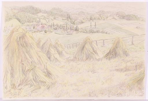 "Maria PILAT - Dessin-Aquarelle - ""A Lower Austrian Landscape"", ca.1930"
