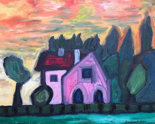 Christian DURIAUD - Pintura - Pink house