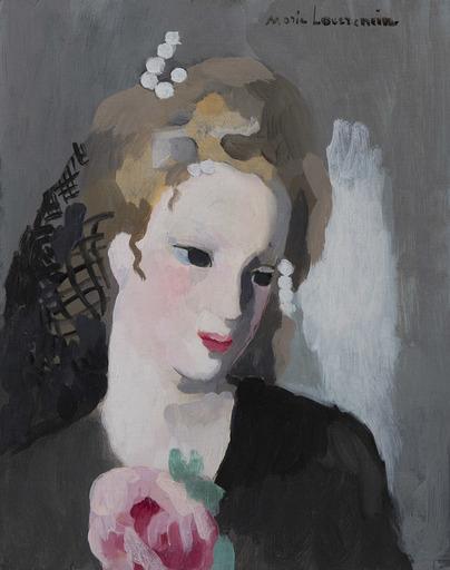 Marie LAURENCIN - Painting - Jeune femme à la rose