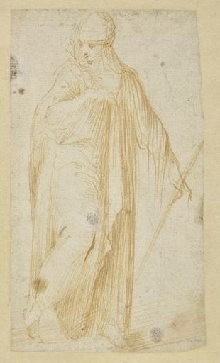 Carlo URBINO - Zeichnung Aquarell - Femme drapée tenant un rameau