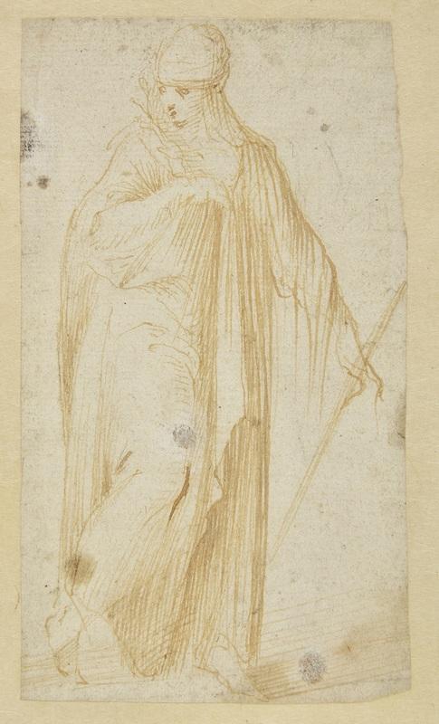 Carlo URBINO - Drawing-Watercolor - Femme drapée tenant un rameau