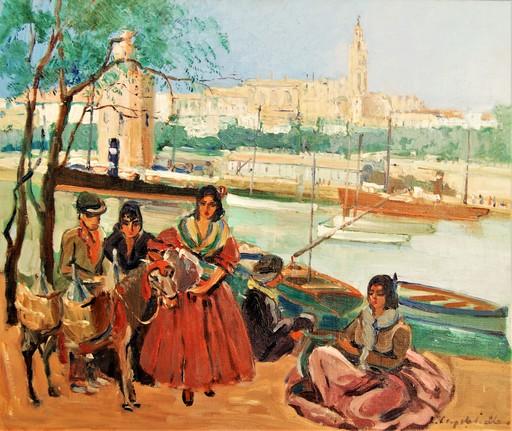 Lucienne CAPDEVIELLE - Pittura - Gitanos. El rio Guadalquivir, torre del oro. Sevilla