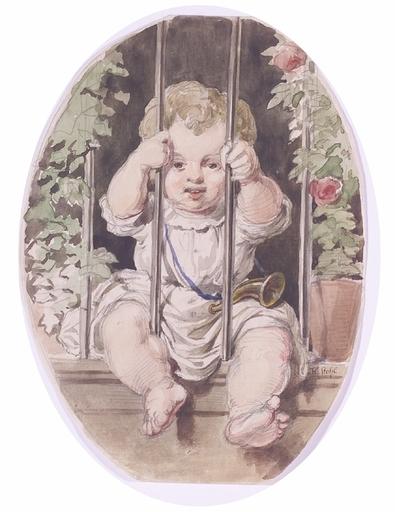 "Heinrich STOHL - Disegno Acquarello - ""Baby at the Balcony"", Watercolor"