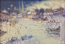 Jean FUSARO - Pintura - Les clochers du port d'Ostende