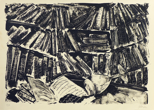 米盖尔·巴塞罗 - 版画 - La bibliothèque