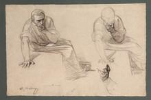 Raimundo DE MADRAZO Y GARRETA - Dibujo Acuarela - Studies of a man thinking