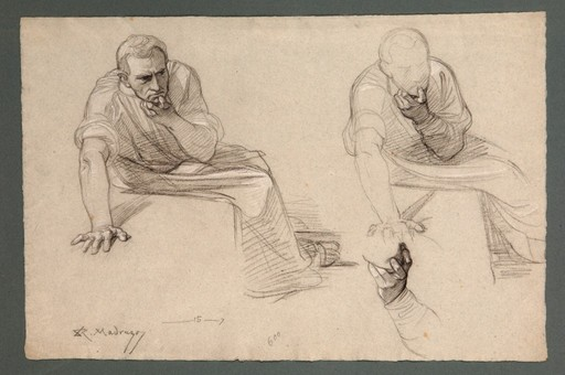 Raimundo DE MADRAZO Y GARRETA - Disegno Acquarello - Studies of a man thinking