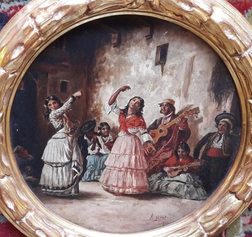 Rafael SENET Y PÉREZ - Painting - BAILE FLAMENCO