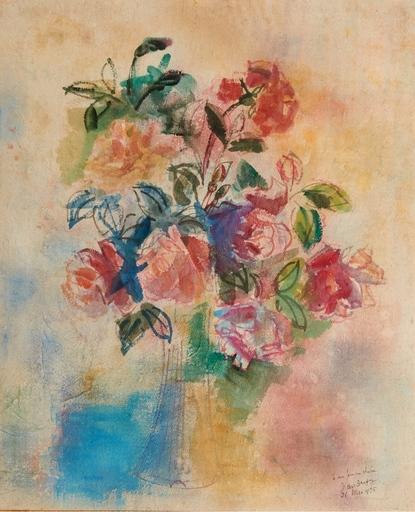 Jean DUFY - Dibujo Acuarela - Bouquet de rose dans un vase