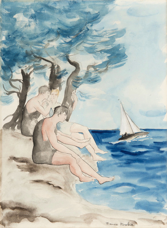 Francis PICABIA - Drawing-Watercolor - Les baigneurs