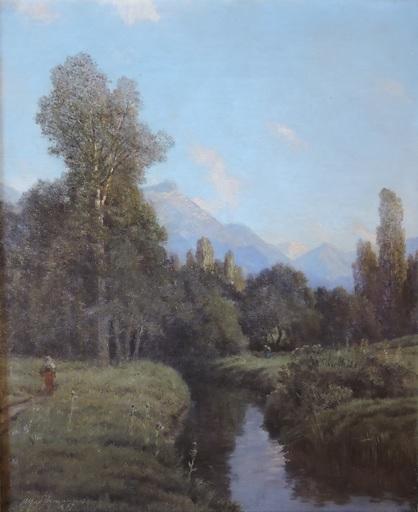 Alfred CHAVANNES - Gemälde - Plaine du Rhône, les Grangettes