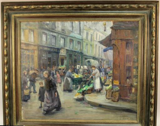 Charles WITTMANN - Pintura - Marché dans le vieux Paris