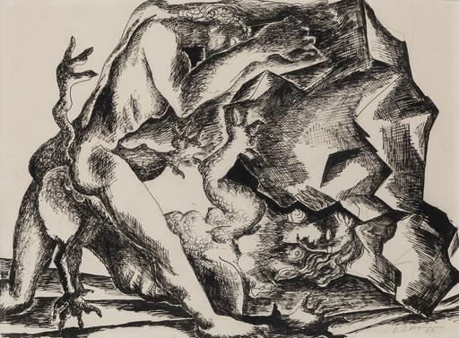Ossip ZADKINE - Drawing-Watercolor - Hercule & Hydra