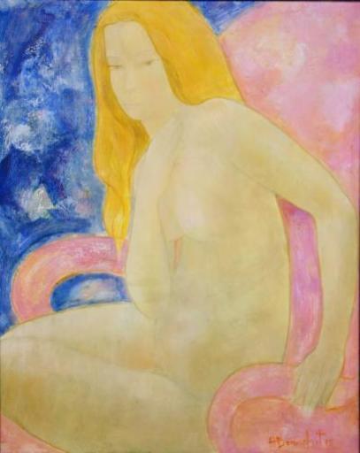 Alain BONNEFOIT - Painting - Jeanne in the Armchair