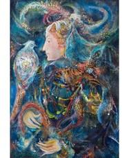 Gayane KHACHATURYAN - Painting - Woman with a Bird