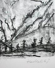 Erich HECKEL - Grabado - Verschneite Berge
