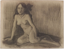 "Dan SCHIERING - Drawing-Watercolor - ""Female Nude"", ca 1905, Drawing"