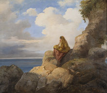 Vincenzo CABIANCA - Painting - Contadinella Sulle Rocce