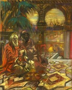 Henri Jules Charles DE GROUX - Dibujo Acuarela - « Smokers in the palace »  Circa 1905-1910