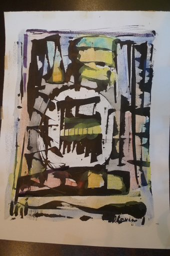 Joseph LEVIN - Drawing-Watercolor - composition abstraite 2