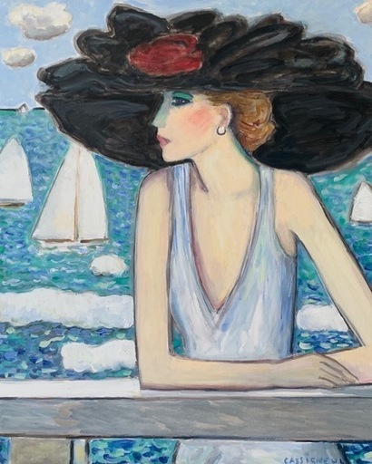 Jean-Pierre CASSIGNEUL - Peinture - La grande capeline noir