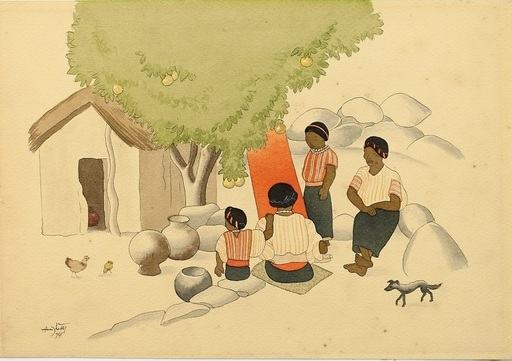 Francisco AMIGHETTI RUIZ - Dibujo Acuarela - Family