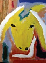 Menashe KADISHMAN - Peinture - Yellow Sheep Portrait