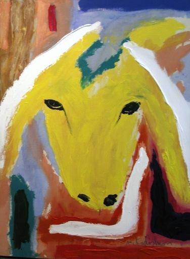 Menashe KADISHMAN - Painting - Yellow Sheep Portrait