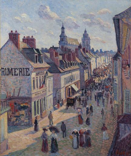 Maximilien LUCE - Gemälde - Jour de marché à Gisors, rue Cappeville