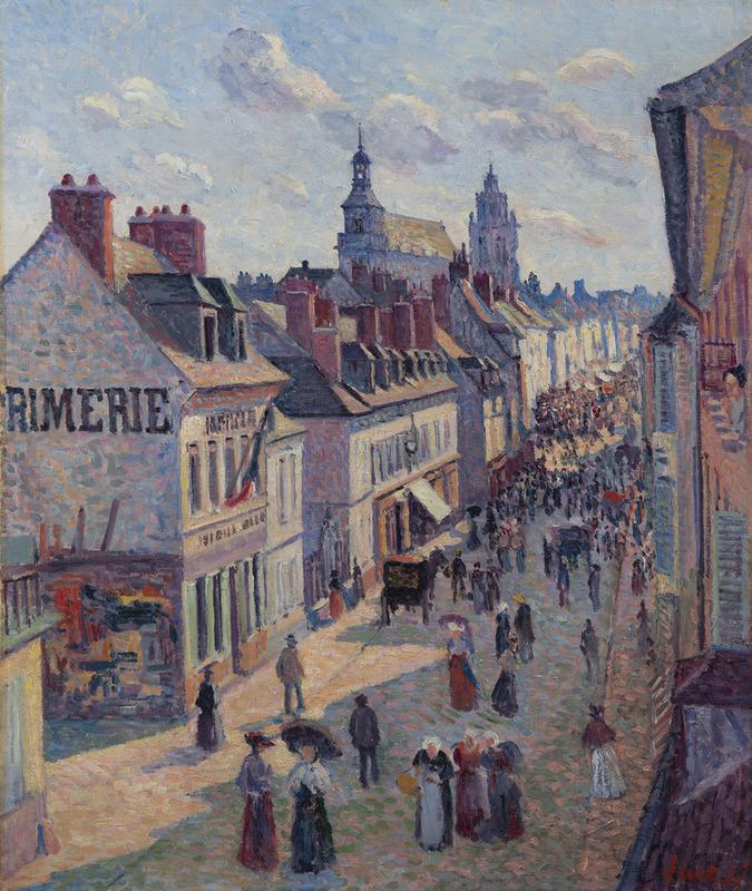 Maximilien LUCE - Peinture - Jour de marché à Gisors, rue Cappeville