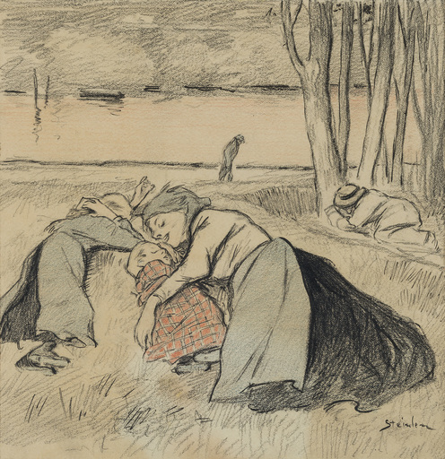 Théophile Alexandre STEINLEN - Drawing-Watercolor - Mother´s dream