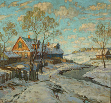 Konstantin Ivanovich GORBATOV (1876-1945) - Snowfall in the Village