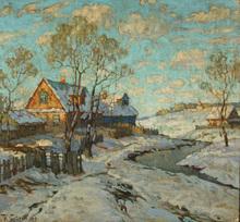 Konstantin Ivanovich GORBATOV (1876-1945) - Snowfall in the Village