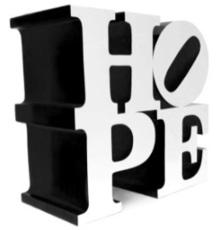 Robert INDIANA - Sculpture-Volume - HOPE White/Black