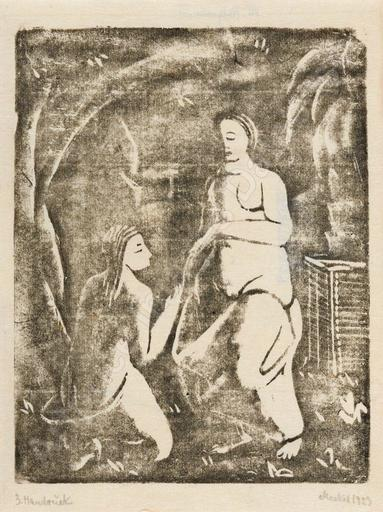 Georg MERKEL - Estampe-Multiple - Zwei Frauenakte (Arkadische Szene), 1923