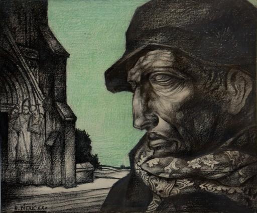 "Raymond DIERICKX - Dibujo Acuarela - ""PORTRAIT AU CIEL VERT"""