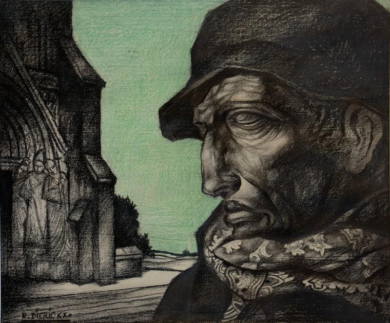 "Raymond DIERICKX - Disegno Acquarello - ""PORTRAIT AU CIEL VERT"""