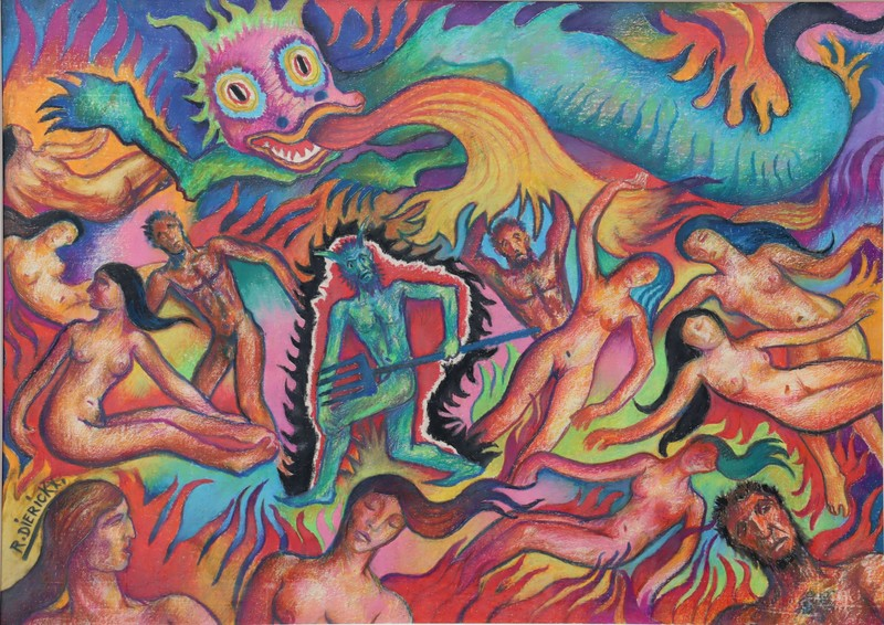 """Raymond DIERICKX - Drawing-Watercolor - """"L'ENFER"""""""