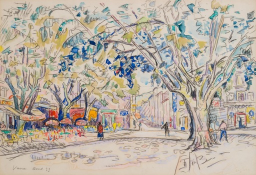 Paul SIGNAC - Drawing-Watercolor - Vaison La Romaine