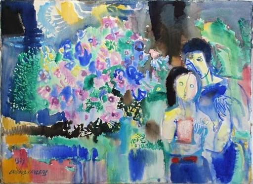 Louis CAILLAUD D'ANGERS - 水彩作品 - Alteas bleus et roses