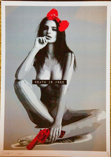 "DEATH NYC - 版画 - Pop Art Print ""Emily Sit Gun Red"""