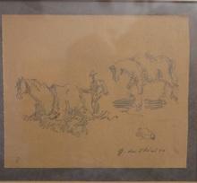 Giorgio DE CHIRICO - Disegno Acquarello - Cavalli al pascolo - VENDUTO