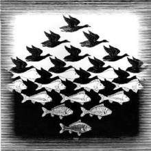Maurits Cornelis ESCHER - Grabado - Lucht en water/Sky and water