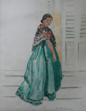 Henri Baptiste LEBASQUE - Dessin-Aquarelle - Femme à la mantille et robe verte