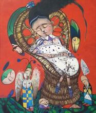 Pedro Pablo OLIVA - Pintura - Siete apariciones de Alicia, serie sillones de mimbre.