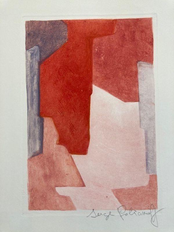 Serge POLIAKOFF - Estampe-Multiple - Composition mauve bleue et rouge EF XXI